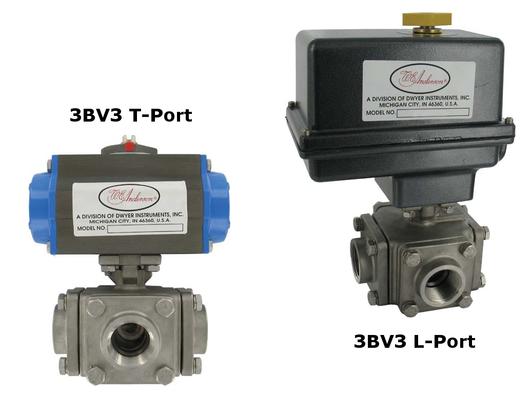 Banjo Electric 3 Way Directional Ball Valve: SS 3-Way Electric & Pneumatic Ball Valves (Dwyer